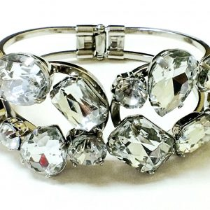 Beautiful Silver Tone Multi Acrylic Stone Womens Fashion Bangle 122023607409