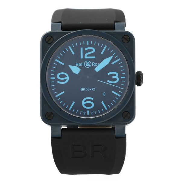 Bell Ross BR03 92 Blue Ceramic Rubber 42mm Swiss Automatic Mens Watch 124810444379