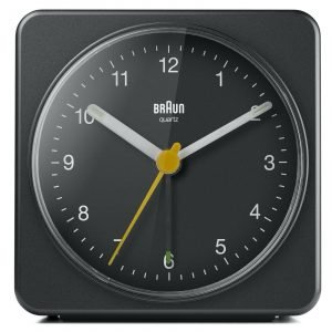 Braun BN BC03B Large Black Square Quartz Alarm Classic Travel Clock 133653562869