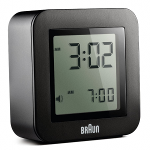 Braun BN C018BK Black Digital LCD Travel Quartz Alarm Clock Square 225 114692486369