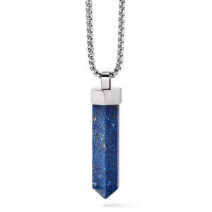 Bulova J96N006 Precisionist Stainless Steel Obelisk Shaped Lapis Necklace 28 114574986899