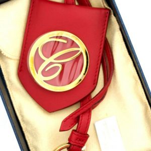 Chopard 95016 0049 Classic Round Logo Red Leather Rose Gold Bag Charm Keychain 113694059089