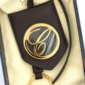 Chopard 95016 0051 Classic Round Logo Brown Leather Rose Gold Bag Charm Keychain 113694055749
