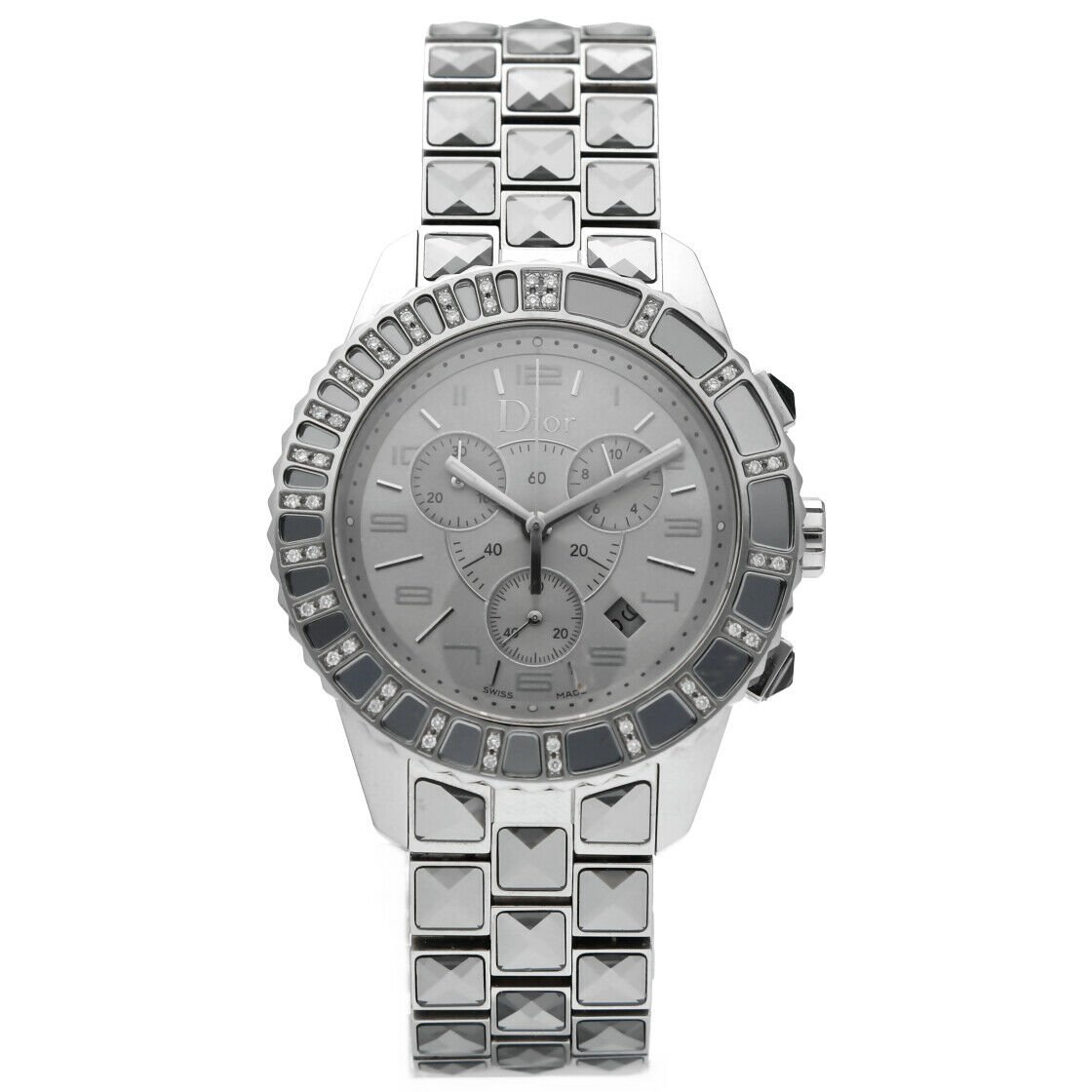 Christian Dior CD114313 Crystal Diamond Bezel Steel Silver Quartz Wrist Watch 123561068829