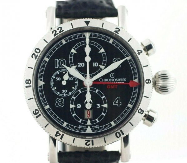 Chronoswiss GMT Chrono Timemaster CH7533 Leather 45mm Automatic Mens Watch 133366952699 2