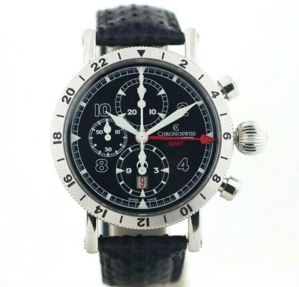 Chronoswiss GMT Chrono Timemaster CH7533 Leather 45mm Automatic Mens Watch 133366952699