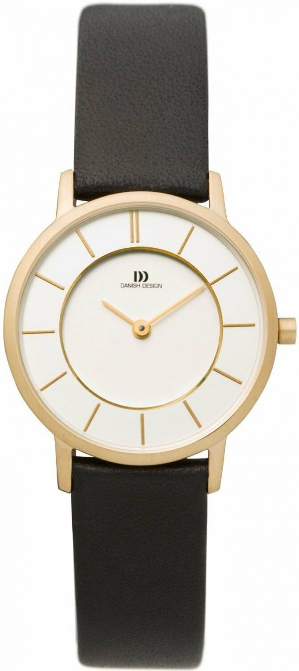 Danish Design IV15Q789 White Dial Gold Tone Stainless Steel Leather Womens Watch 112209789849