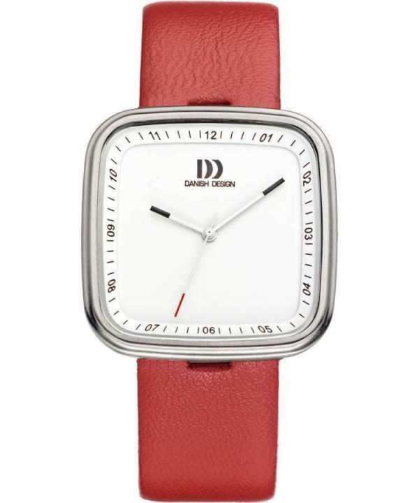 Danish Design IV24Q1002 White Dial Stainless Steel Red Leather Womens Watch 132014796989