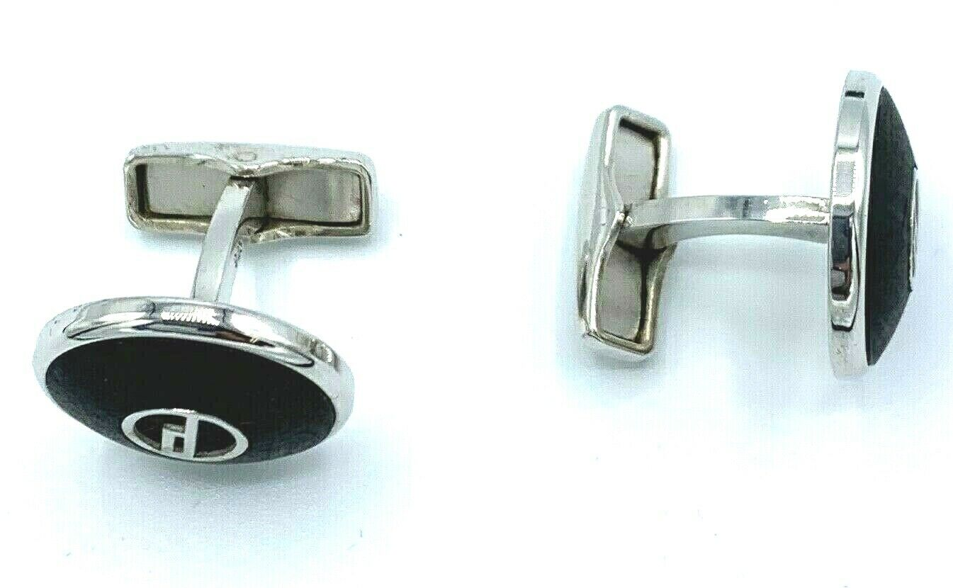 Dunhill Round Mate Wood D Logo 925 Sterling Silver Mens Cufflinks Gift 113773133569 7
