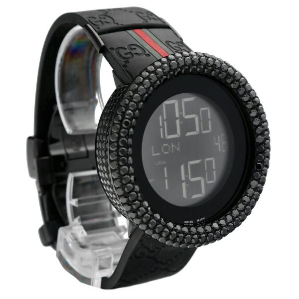 Gucci 316L Black Steel Diamonds 50mm Digital Stainless Steel Quartz Wrist Watch 133572233279 5