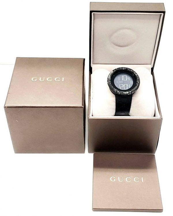 Gucci 316L Black Steel Diamonds 50mm Digital Stainless Steel Quartz Wrist Watch 133572233279 8