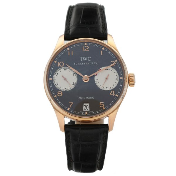 IWC Portuguese 7 Day Power Reserve Gray Dial 18k Rose Gold Automatic Wrist Watch 114844981209